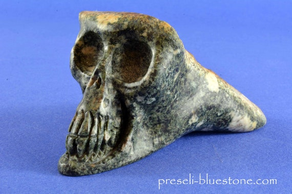 Fairytail PRESELI BLUESTONE Gnome Troll Dragon Fantasy SKULL, from the Hollow Earth, happy magic! Handcarved by Artist ...