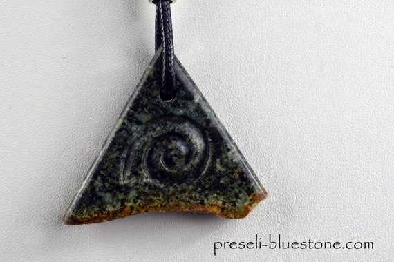 Triangle Pendant with carved Spiral, hand carved by Artist Ivo Manus  (#14)