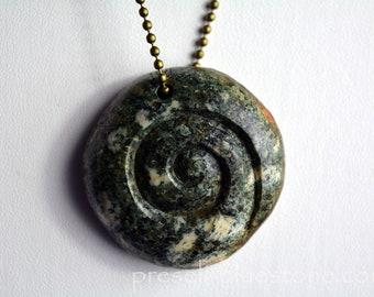PRESELI BLUESTONE Manus SPIRAL Pendant Necklace ....Shaman, Druids, Pagan .......... hand carved by Artist (#12)