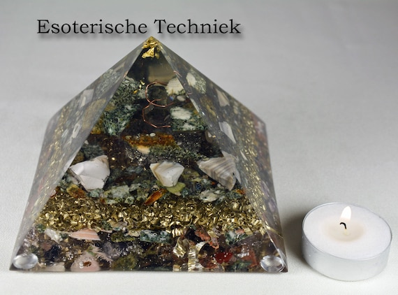 Orgonite Pyramid with Gold Leaf, Preseli Bluestone, Pyrite and Flint