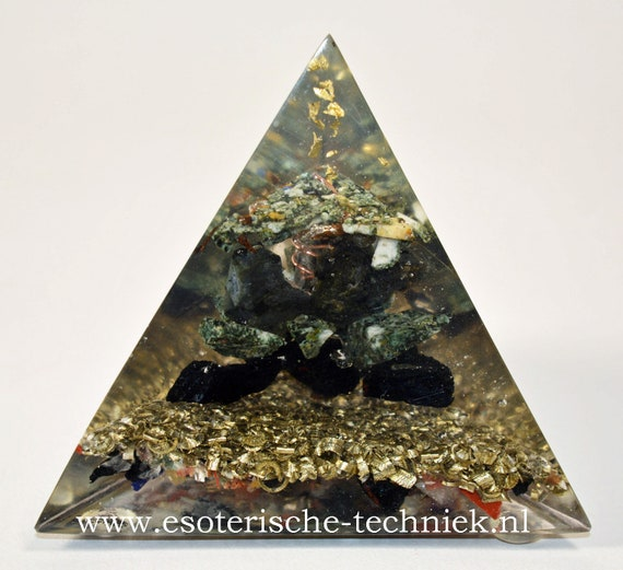 Orgonite thetraeder Pyramid with Gold Leaf, Preseli Bluestone, Larvikite and Shungite.