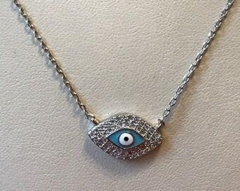 Sterling Silver Blue Enamel Evil Eye Cubic Zirconia Necklace