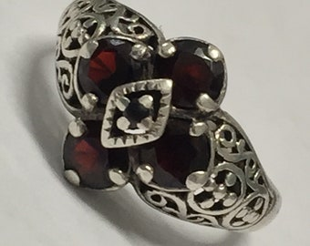 Vintage Sterling Silver Edwardian Art Deco Filigree Garnet Floral Ring Signed pd