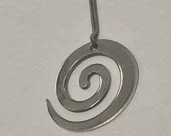 Estate Sterling Silver Spiral Pendant Necklace