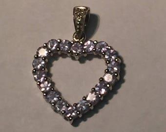 14k White Gold Light Purple Tanzanite Heart Pendant