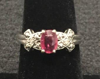 14k White Gold .75 Carat Ruby Ring Size 7 1/4