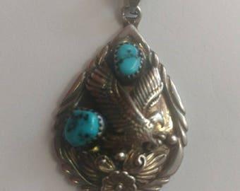 Vintage Sterling Silver Native Eagle Turquoise Pendant