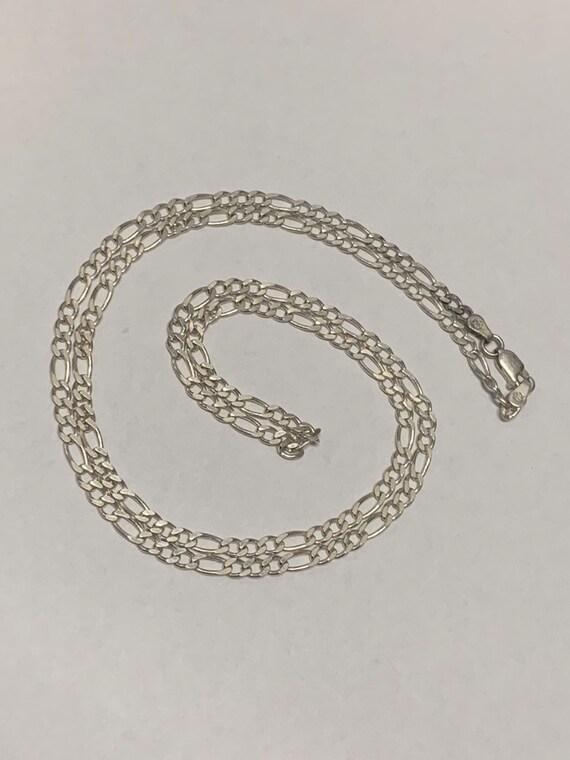 ab88f9f9b4e27 Vintage Sterling Silver 24 Inch Figaro Chain