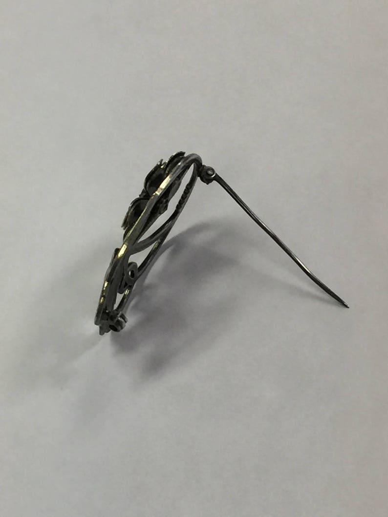 Vintage Symmetalic Sterling Silver14K Citrine Flower Brooch Pin