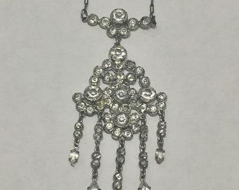 Vintage Sterling Silver Rhinestone Chandelier Necklace