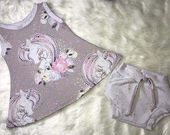 5af1df402113 Baby Girl Summer Outfit | 12-18 Month | Diaper cover | Swing top