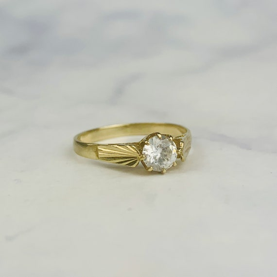 Vintage Retro 9K Gold Etched Crown Gallery Clear S