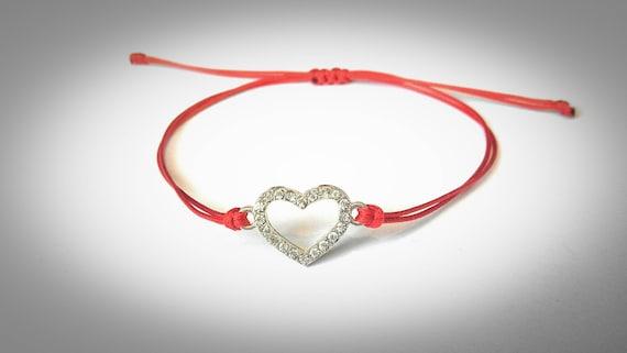 Bracelet à breloques coeur Bracelet fil rouge souhait   Etsy c23edfab041c