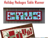 Holiday Packages Table Runner Original Pattern pdf pattern original design not available elsewhere Christmas holiday decor