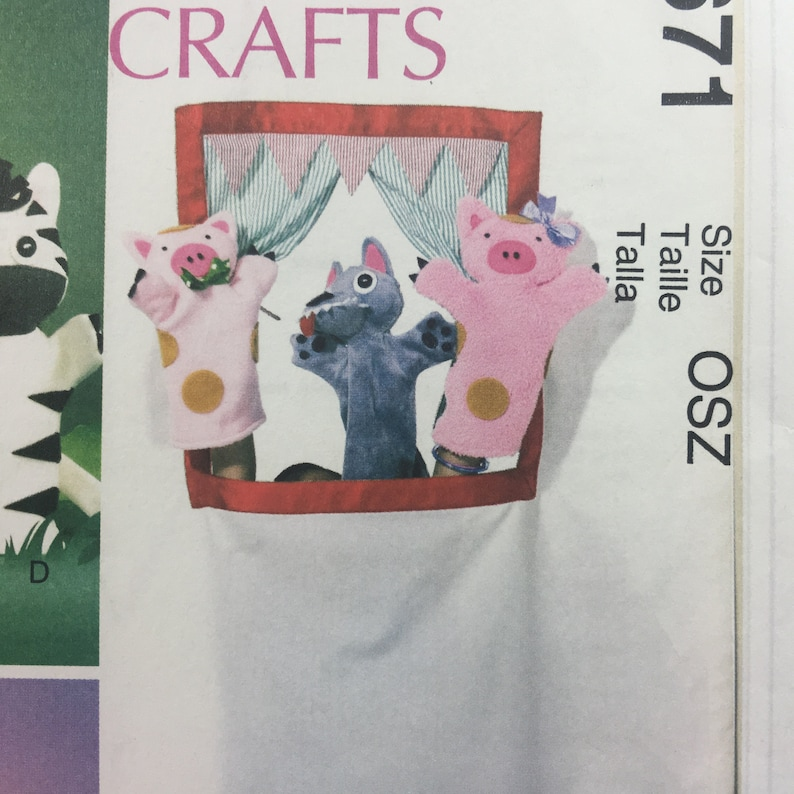 McCalls Crafts 6671 Elephant Pig Zebra Lion Puppets Carry Bag Sewing Pattern