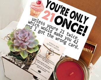 21st Birthday Funny Succulent Gift Box Set Send A Happy Bday For Friend Card