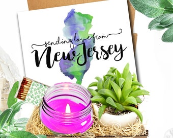 Missing Home  State Homesick Gift Moving New Jersey Personalized Soy Candle and Succulent Gift Box Missing You College Student
