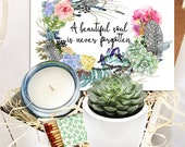 A Beautiful Soul is Never Forgotten - Succulent and Candle Gift Box - Grief Gift - Sorry for your Loss Care Package - Funeral