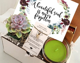 A Beautiful Soul Is Never Forgotten - Succulent or Cactus & Candle - Sympathy Gift Box - Friendship Gift - Funeral Gift Sorry for your Loss