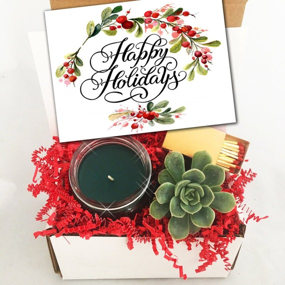 Christmas Succulent Gift.Free Shipping Happy Holidays Live Succulent Gift Box Holiday Gift Holiday Hostess Gift Succulent Gift Box Christmas Gift For Coworker