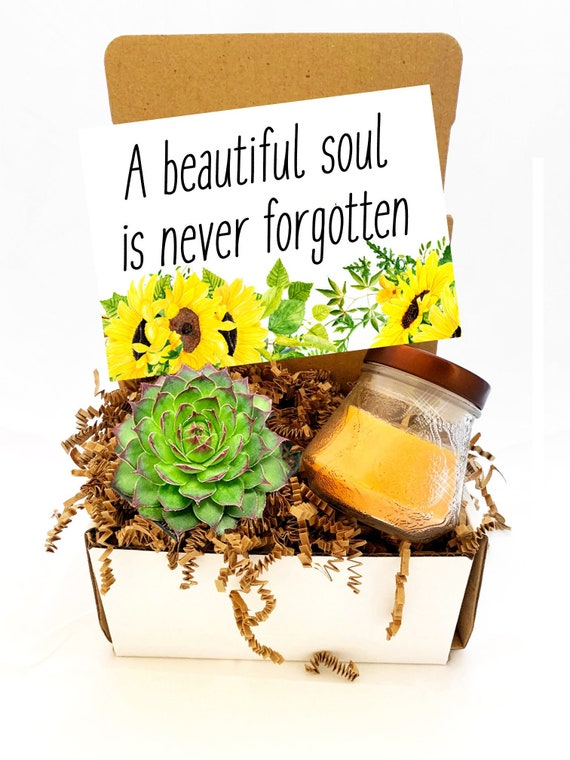 Love Leaves a Memory No one can steal Succulent Gift Box Sympathy gift Cheer up  Sunflower Grievance Card- Encouragement Care Package