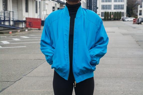 Vintage Silk Blue Bomber