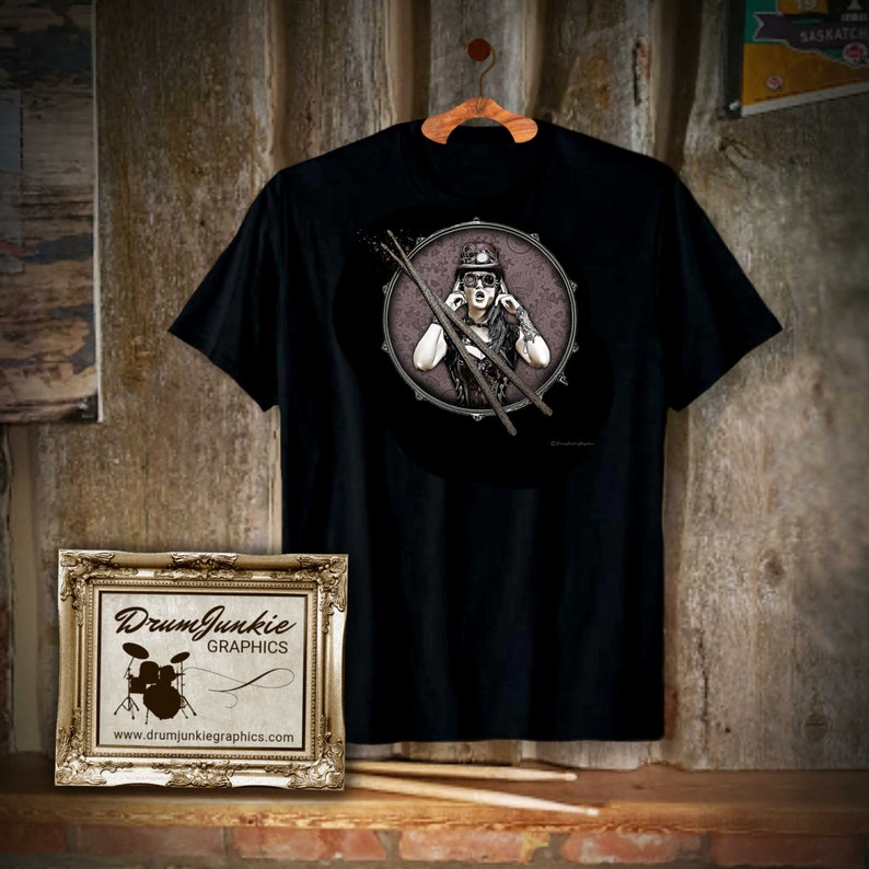 Cool DrumHeadz Drummer Shirt  Drumming T  Musician Rocker  image 0