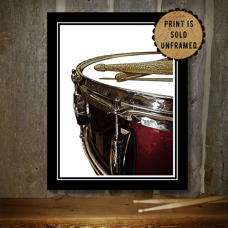Drum Art Print  Music Poster  Red Snare Drum  Drumsticks  image 0