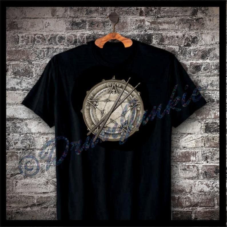 Snare Drum T Shirt with Pentagram Skulls and Drum Sticks  image 0