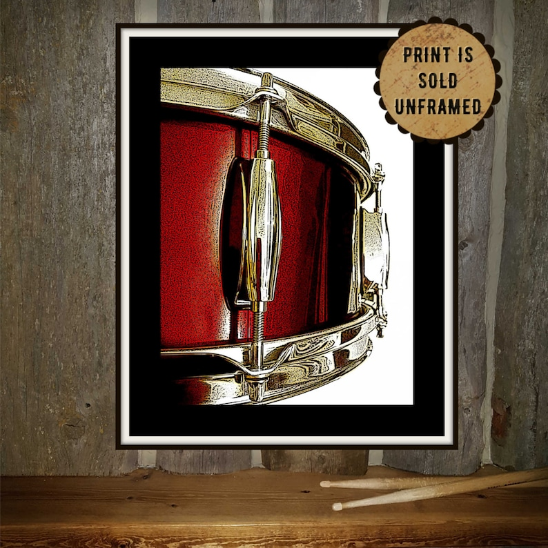 Music Art Print Red Snare Drum  Wedding Present for Musician image 0