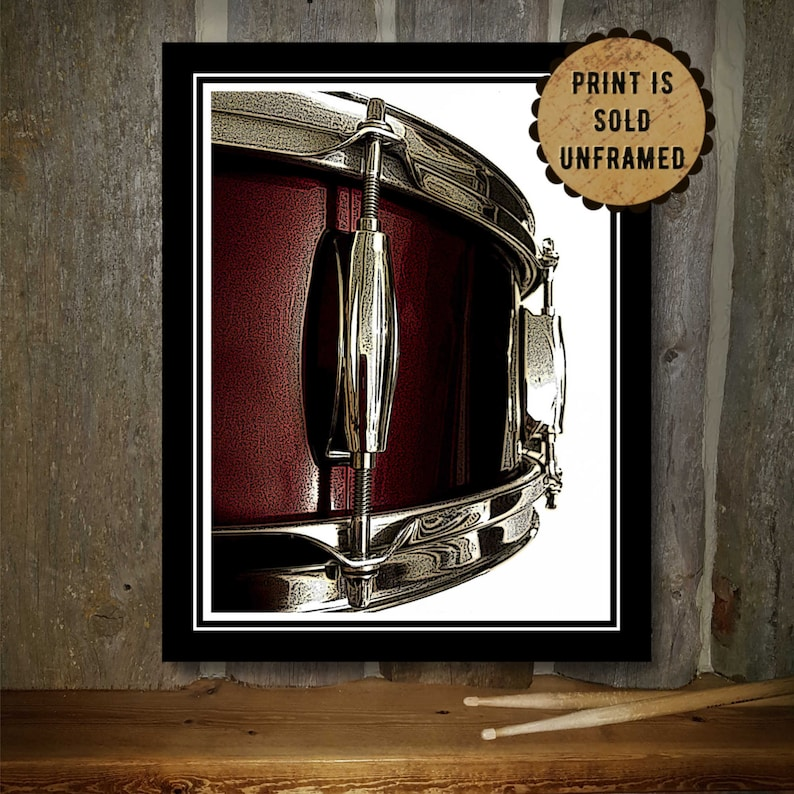 Music Poster  Drum Art Print  Red Snare Drum  Wedding Gift image 0