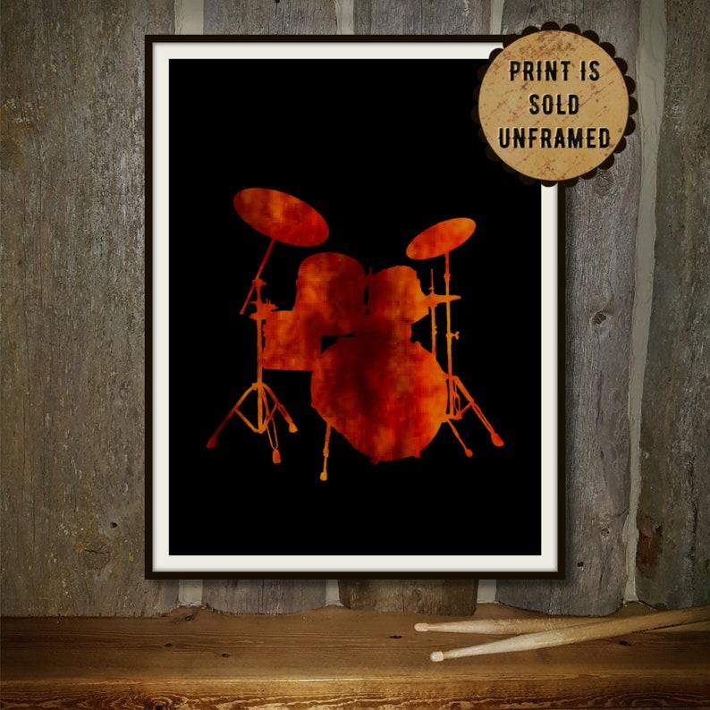Music Art Print  Drumming Poster  Drummer Birthday Gift  image 0