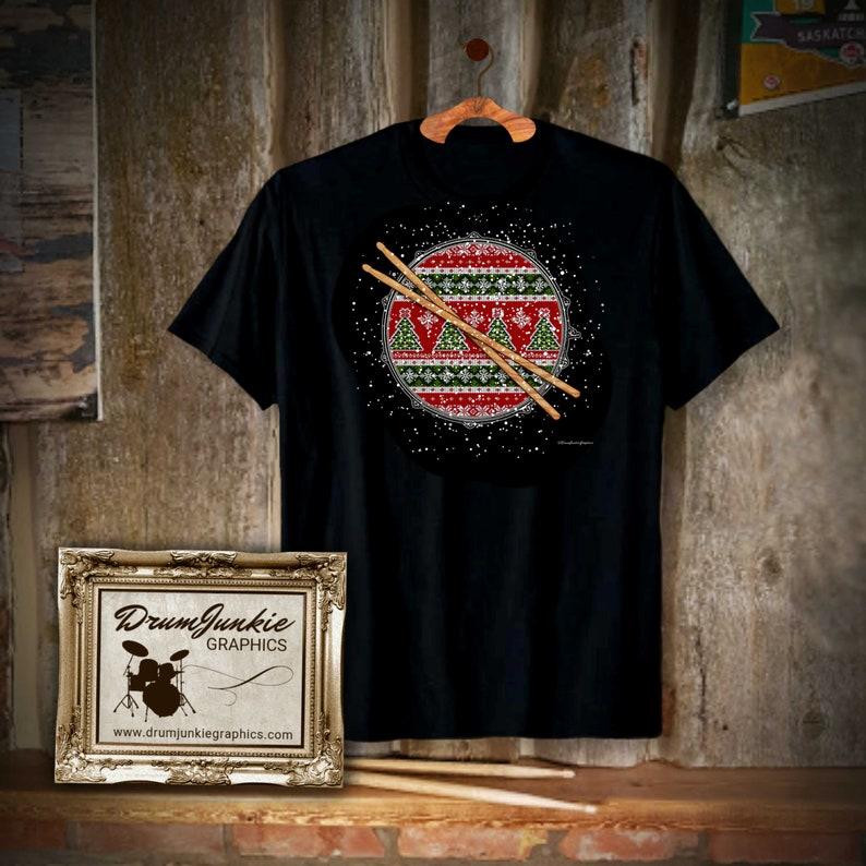 Christmas Drummer T Shirt  Snare Drum  Drumsticks  Musician image 0