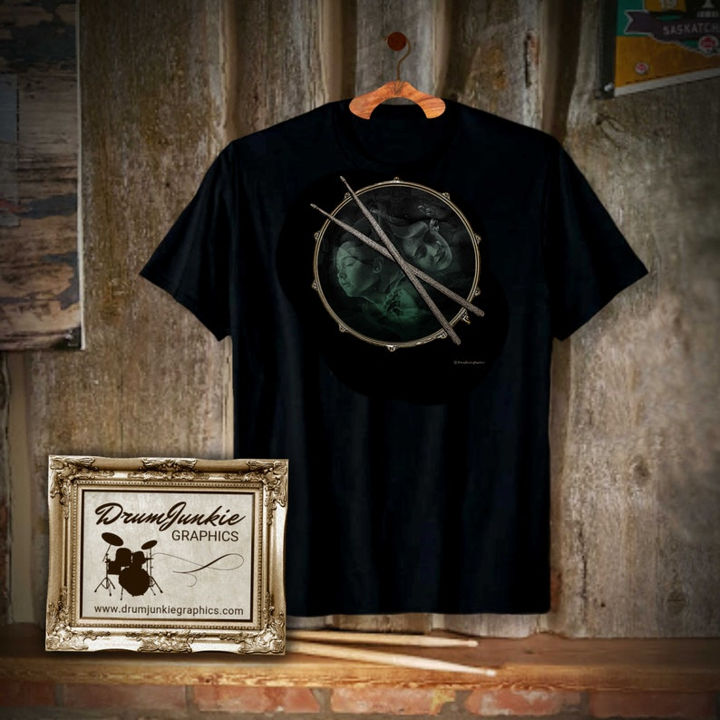 Cool DrumHeadz Drummer Shirt  Snare Drum and Drumsticks  image 0
