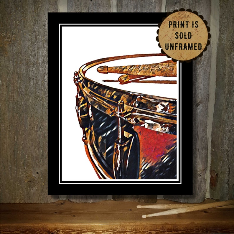 Music Poster  Drum Art Print  Snare Drum  Drumsticks  Gift image 0