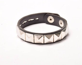 Leather Cuff w/metal studs in Black & White/Gift for Her/Gift for Him/Gift under 20/Punk style/ C-7