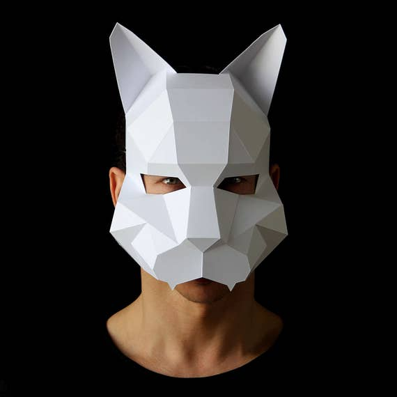 Cat Mask Man Easy To Make Cat Mask From Card With This Etsy