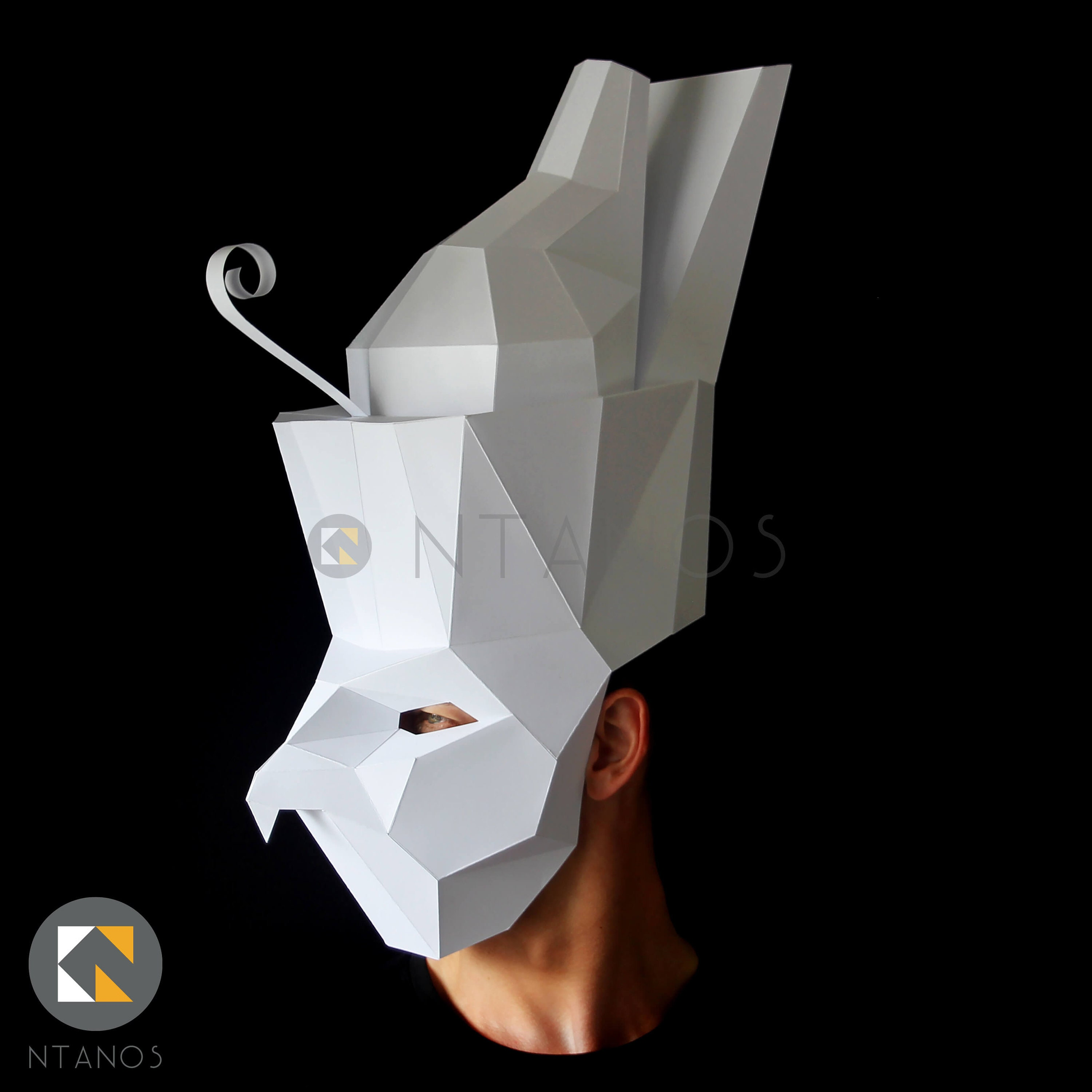 Egyptian God HORUS paper mask - Make it with this Low-Poly mask template