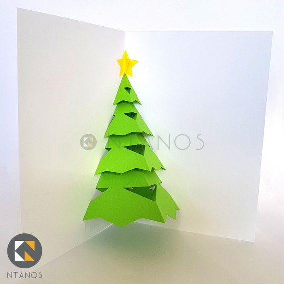 Dyi Christmas Tree Pop Up Card Template For Easy To Make Pop Etsy
