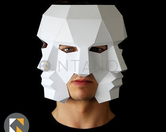 Three Face Mask - Make this 3D mask with this PDF download and card