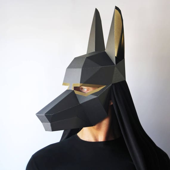 anubis mask pre cut all you need is glue to make this press out mask