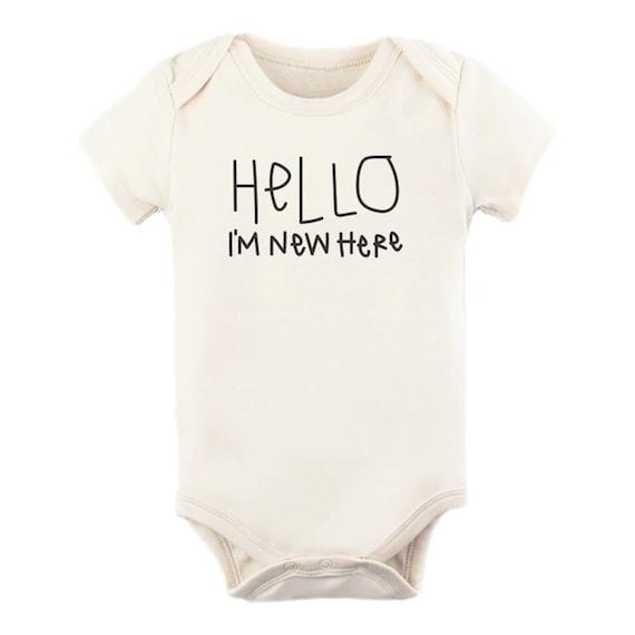 "girl baby onesieonesie unisex 1-piece body suit /""Hello I/'m New Here/"" cute boy"