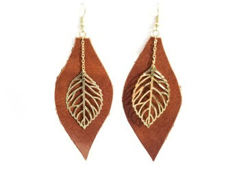 Large Leather Leaf with Little Drop Leaf Earrings