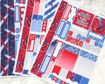 Stars & Stripes | Mini Planner Sticker Kit, Personal Kit, TN Stickers, 4th July, America, USA, Glitter, Red, Blue, Independence Day