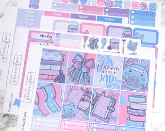 Planner Jam | Planner Sticker Kit, Weekly Kit for use with Erin Condren LifePlanner™, Planning, Washi Tape, Tassel, Planner Charm, Kawaii