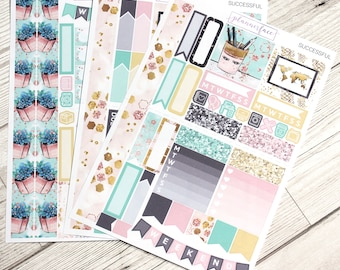 Successful | Mini Planner Sticker Kit, Personal Kit, TN Stickers, Boss, Floral Kit, Office Accessories, Planner Addict, Mint, Pink, Gold