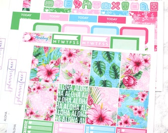 Aloha | Planner Sticker Kit, Weekly Kit for Erin Condren, Flowers, Floral Kit, Spring, Summer, Pink, Blue, Green, Tropical, Exotic Floral