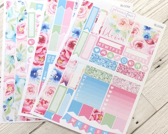 Bloom | Mini Planner Sticker Kit, Personal Kit, Travellers Notebook Stickers, Floral Kit, Spring, Summer, Pastel Kit, Flowers, Green, Pink