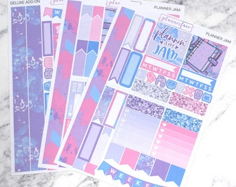 Planner Jam | Mini Planner Sticker Kit, Personal Kit, TN Stickers, Planning, Washi Tape, Tassel, Planner Charm, Kawaii, Pastel, Pink, Purple