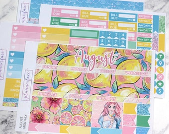 August Monthly Kit | Sticker Kit for use with Erin Condren LifePlanner™, Monthly View, Summer Kit, Vacation, Holiday, Lemon, Citrus, Floral